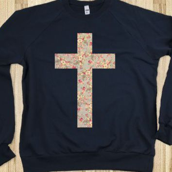 Floral Cross (Crew Neck Sweatshirt) - Cheap Deep Blue
