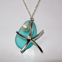 Silver Starfish and Blue Sea Glass Charm Necklace