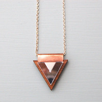 Overlay Triangle Necklace in Silver and Copper by Wolf and Moon
