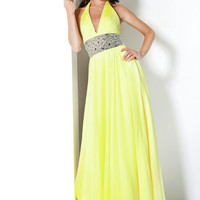Daffodil A-line Halter Floor Length Chiffon Graduation Dress -sinospecial.com