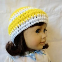 American Girl Crochet Beanie Hat Yellow White Stripes