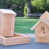 Outdoor Functional Birdhouse and Bird Feeder, Handcrafted using Cedar