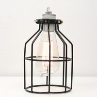 Industrial Cage Table Lamp- Industrial Table Lamp, Antique Edison Bulb, Black Cage Lamp, Rustic Lighting