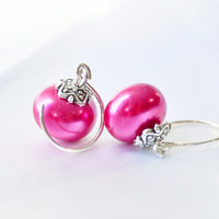 Fuchsia pearl dangle earrings by JooniebeadsTreasures on Etsy