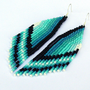 Beaded Dangle Long Earrings. Native American Earrings Inspired. Wings. Aqua, Mint, Blue, White, Black,Teal Earrings. Beadwork