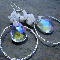 Moonstone and Clear Mystic Quartz earrings - Tenderness