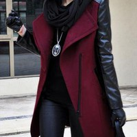 PU-Sleeved Asymmetric Lapels Cashmere Coat-Wine red from OASAP-USA