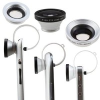 Amazon.com: AGPtek® Circular Clip 3 in 1 Siver 180 Degree Fisheye Lens + Wide Angle Lens + Macro Lens for iPhone iPod touch iPad Samsung Galaxy S3 Note 2 and Most of Phones Tablet PC with Camera Lens: Camera & Photo