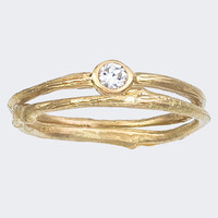 Simple Engagement Ring and matching Band Bezel Set Round by bmjnyc