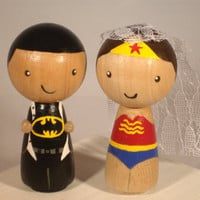 Superhero Wedding Cake Topper Kokeshi Superhero Cake Topper - Wonder Woman, Superman, Thor, Captain America, Batman, Ironman