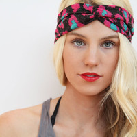 Turban Stretch Headband in Black with Hot Pink and Aqua Spots