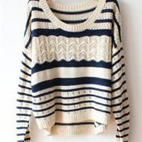 Deep Blue Loose Hollow Stripe Sweater