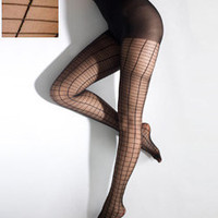 Black Grid Sheer Luxe Shapes Pantyhose