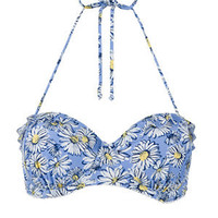 Pale Blue Daisy Print Bikini Top