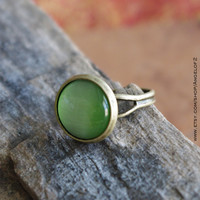 Guardian - Green CatsEye Cabochon Antique Bronze Adjustable Ring