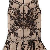 Alexander McQueen|Lace and silk peplum top|NET-A-PORTER.COM