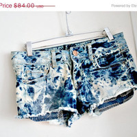 ON SALE acid wash. vintage 80's short shorts. hand dyed.