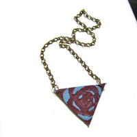 Hand Painted Maroon Rose Pattern Jean Pendant Necklace