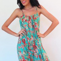 Maxi Lulu Jen - Turquoise Tropical Floral Print  Dress