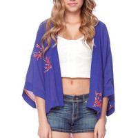 In Bloom Kimono Cardigan in Blue :: tobi