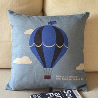 Blue Up balloon and Linen Pillow