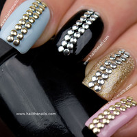 Gold &amp; Silver Metallic  Studs Nail Art  This by Hailthenails