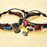 Handmade Couple Leather Bracelets- King and Queen