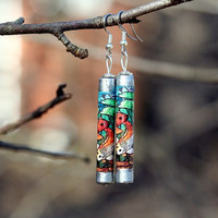 Koi Earrings Japanese Earrings Japanese Koi by FestivalReGlass