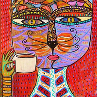 Cat Goddess Drinking Espresso   by SandraSilberzweigArt on Etsy