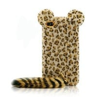 Cute Leopard Print Case with Panther Tail for iPhone 4 & 4s