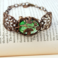 "Vintage Tooled Artisan Brass ""Fruit of the Vine"" Czech Glass Bracelet"