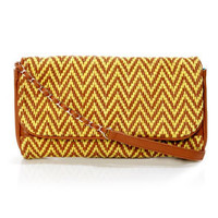 Big Buddha Laila Yellow and Brown Woven Purse