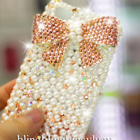 iPhone 5 case - iPhone 4s case - iPhone 4 cover Pearl iphone 4 case - iphone 4 bow case - crystal iphone case - bling iphone 5 case bow