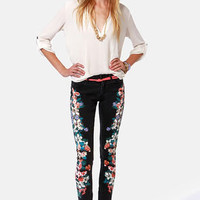 Insight Python Art Floyd Black Floral Skinny Jeans