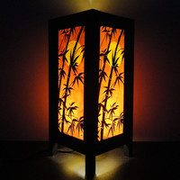Asian Oriental Japanese Dawning Sunset Bedside Floor or Table Lamp or Bedside Wood Paper Light Shades Furniture Home Decor