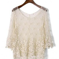 Crochet Mesh Mid-Sleeve Top S010581