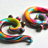 CMYK Swirl Polymer Gauged Earrings by KatyMarieCreations on Etsy