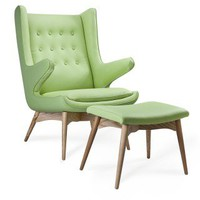 Merton Arm Chair and Ottoman Celery / Industry West