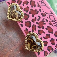 Cute Leopard Heart Earrings