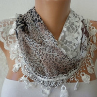 Print Scarf    Headband Necklace Cowl with Lace Edge  by fatwoman/88859586/