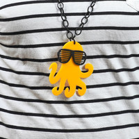 Canary Yellow Octopus NecklacePlexiglass NecklaceLasercut by bugga
