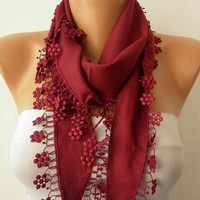 Burgundy  Scarf   Pashmina  Scarf  Headband Necklace by fatwoman/92306320/