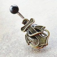 Brass Anchor Belly Button Ring Jewelry