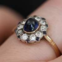 Cabochon Sapphire and Diamond Cluster Ring by Ruby Gray&#x27;s | Ruby Gray&#x27;s Antique &amp; Vintage Rings