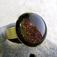 Glitter Dome Ring  Fire Galaxy  Red and Gold by AshleySpatula