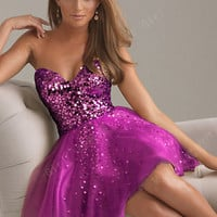 Charming purple sweatheart strapless short prom dress from Girlsfriend