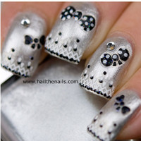 Nail Art Stickers Decals Black & White Polka Dot Bow Lace inc Crystals YD034