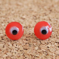 Googly Eyes Studs- quirky earrings hipster jewelry unique pink button repurposed posts free shipping to united states