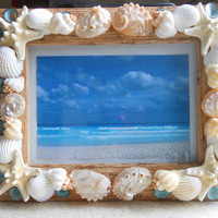 Beach Decor Seashell Picture Frame - Shell Picture Frame - Shell Frame - Seashell Frame - Coastal Home Decor