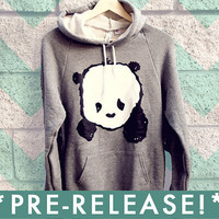 PREORDER / Baby Panda Hoodie Sweater - Zinc Heather Grey - Unisex Sizes S, M, L